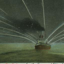 Fire-boat in Action, New York.
