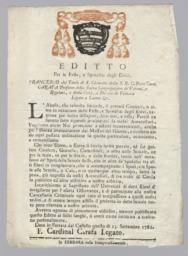 Editto per le Feste, e Spolalizj degli Ebrei. Francesco del Titolo di S. Clemente della S.R.C. Prete Card. Carafa...