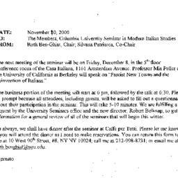 Announcements, 2000-12-08. ...