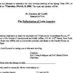 Announcements, 2001-03-08. ...