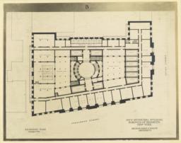 B. Basement plan. New Municipal Building, Borough of Brooklyn, New York. McKim, Mead & White, Architects