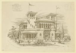 Accepted competitive design for Texas State Building, World's Columbian Exposition Chicago '93. J. Riely Cordon Architect, San Antonio, Texas