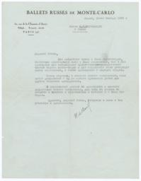 Letter from Colonel W. de Basil to Prince Alexander Shervashidze