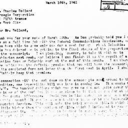 Letter from Otto Klineberg ...