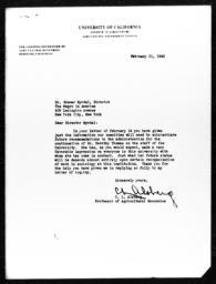 Letter from C.L. Alsberg to Gunnar Myrdal, February 21, 1940