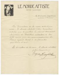 Affidavit about Work by Madame de Holstein for Le Monde Artiste