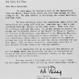 Letter from L.D. Reddick to...