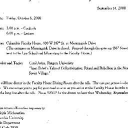 Announcements, 2000-10-06. ...