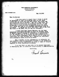Letter from Frank Lorimer to Richard Sterner, May 18, 1939
