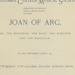 "Program for ""Joan Of Arc, O..."