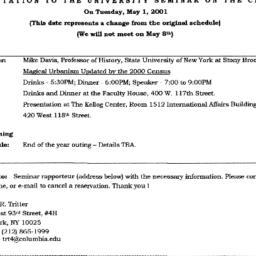 Announcements, 2001-05-01. ...
