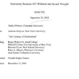Minutes, 2005-09-22. Studie...