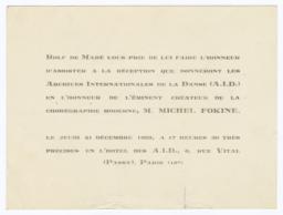 Réception que Donneront Les Archives Internationales de la Danse (A.I.D.) en l'Honneur de l'Éminent Créateur de la Chorégraphie Moderne, M. Michel Fokine: Invitation