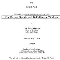 Announcements, 2001-05-07. ...