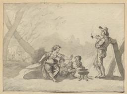 Peasant Family Beside a Brazier