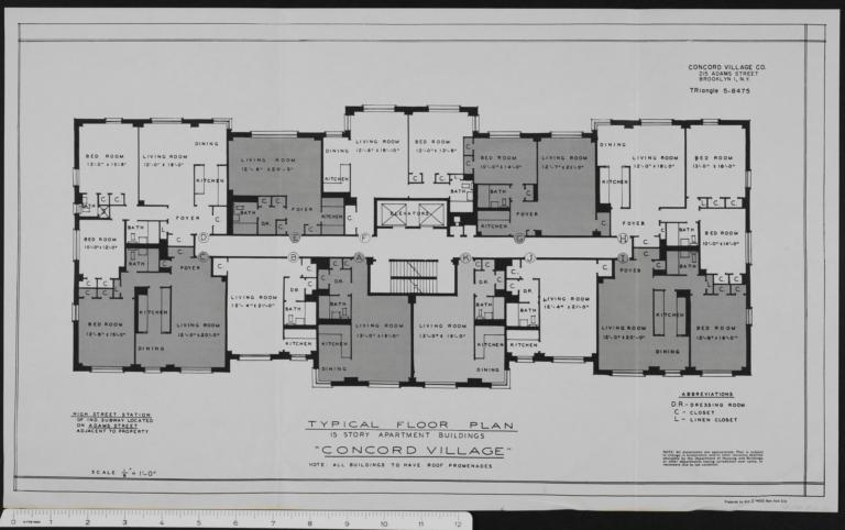 Concord Village 215 Adams Street Typical Floor Plan The New York Real Estate Brochure Collection