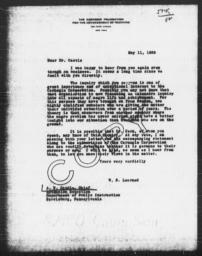 Letter from William S. Learned to Alfred Watkins Castle, May 11, 1939