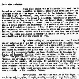 Letter from Dudley Kirk to ...