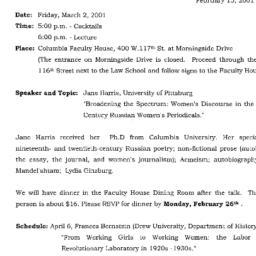 Announcements, 2001-03-02. ...