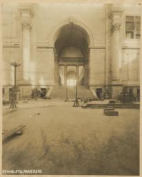 [View of staircase from Main Waiting Room to entrance arcade?]