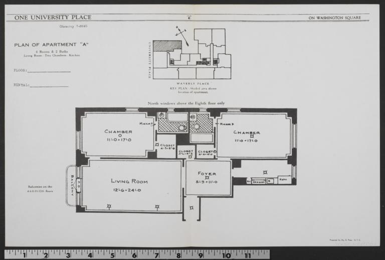 "1 University Place, Plan Of Apartment ""a"""