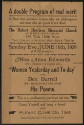 Hubert Harrison Memorial Church, 16 June 1929 : broadside