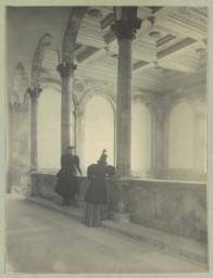 [Boston Public Library, women looking over interior balustrade]