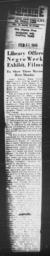 """Article on Madison Library's """"Negro History Week"""" mentioning AN AMERICAN DILEMMA, CAPITAL TIMES, Madison, Wis., February 11, 1945"""
