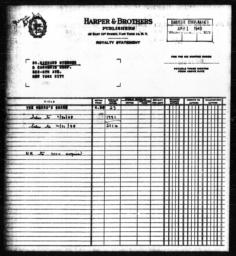 Royalty statement from Harper & Brothers to Richard Sterner for THE NEGRO'S SHARE, December 31, 1948