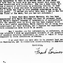 Letter from Frank Lorimer t...