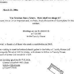 Announcements, 2004-03-23. ...