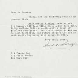 Typed letter, signed, to Ro...