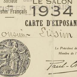 Salon 1934 Carte d'Exposant