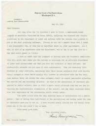 Letter from Felix Frankfurter to Frances Perkins on her job as Secretary of Labor