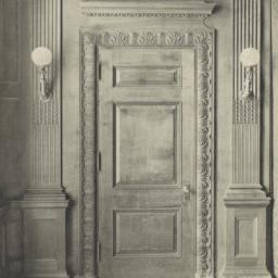 Wooden doorway in Trustees'...