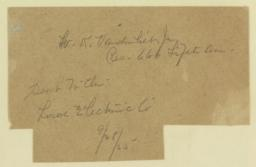 W. K. Vanderbilt, Jr. Res. 666 Fifth Ave. Sent to the Lord Electric Co. 9/28/25