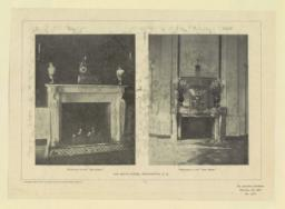 """Fireplace in the """"Red Room."""" Firepalce in the """"East Room."""" The White House, Washington, D. C."""