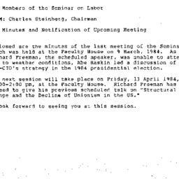 Announcements, 1984-03-09. ...