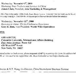 Announcements, 2000-11-01. ...