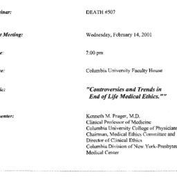 Announcements, 2001-02-14. ...