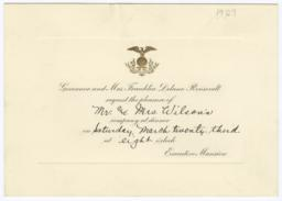 Dinner invitation from Governor Franklin Roosevelt to Frances Perkins and her husband