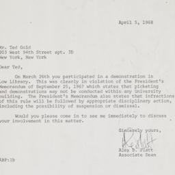 Letter from Associate Dean ...