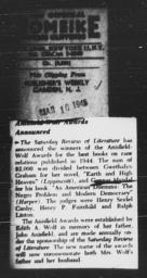 Article announcing Gunnar Myrdal's Anisfield-Wolf Award for AN AMERICAN DILEMMA, PUBLISHER'S WEEKLY, March 10, 1945