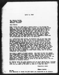 Letter from Gunnar Myrdal to Horace R. Cayton, April 6, 1940