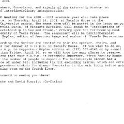 Announcements, 2001-04-26. ...