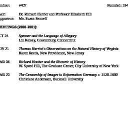 Schedules, Renaissance, sem...