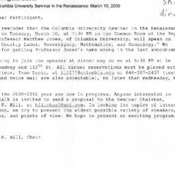 Announcements, 2009-03-10. ...