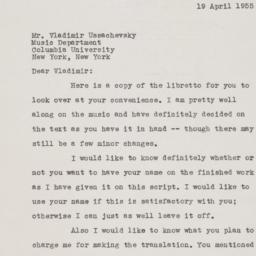 Letter from Ulysses Kay to ...