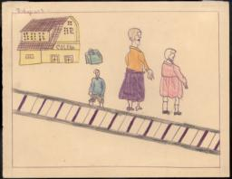 This Drawing Shows My Sister And I Leaving For Cerbère On The Day Of The Evacuation.