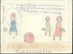 This Drawing Shows My Friend And I Going To School, And Another Girl Jumping Rope Because She Doesn't Want To Go To School.